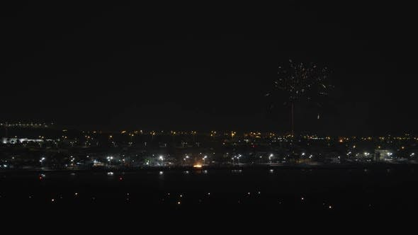 Thumbnail for A Night Urban View with Bright Firework Over It