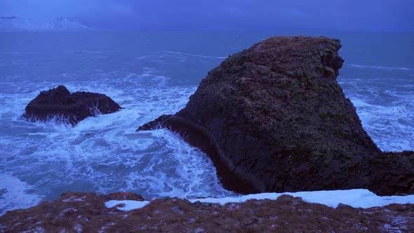 Thumbnail for Iceland Rough Ocean Water Crashes Against Large Cliffs In Arnarstapi