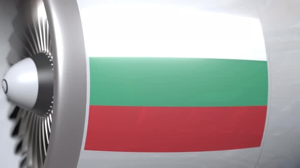 Airplane Turbine with Flag of Bulgaria