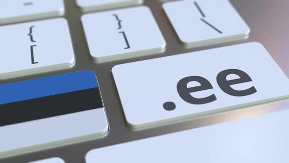 Estonian Domain .Ee and Flag of Estonia on the Keyboard