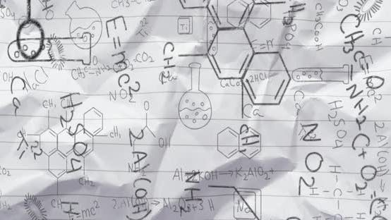 Bllack structural formulae of chemical compounds on paper