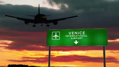 Plane landing in Venice Italy airport