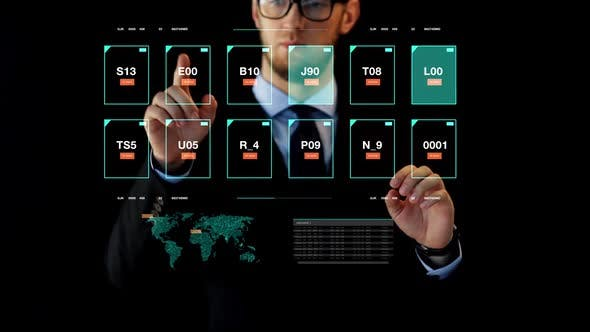 Thumbnail for Businessman Working with Data on Virtual Screen
