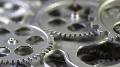 Closeup Magical Metal Gears Turning In Working Mechanism 4