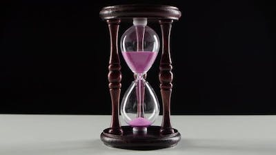 Wooden Hourglass, Jet of Sand in the Hourglass