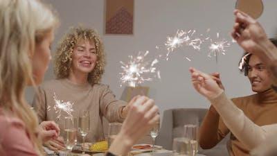 Happy Friends Celebrating Xmas