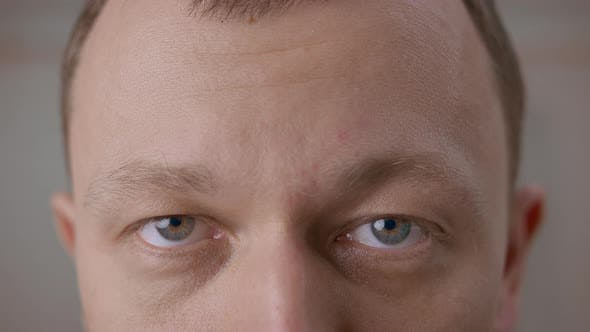Wide open gray eyes of a young man. Looking directly at the camera, close-up