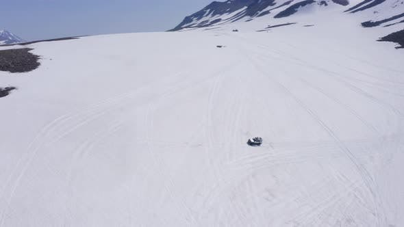 Super Truck Driver Sliding the Snowy Slope