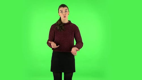 Portrait of Annoyed Woman. Green Screen