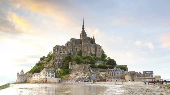 Thumbnail for Mont Saint Michel abbey at sunset timelapse, Normandy, France.