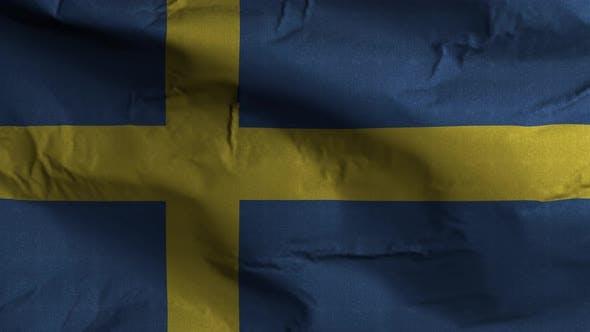 Sweden Flag Textured Waving Background 4K