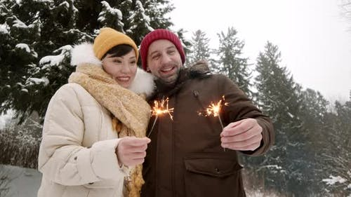 Spouses with Bengal Lights in Winter