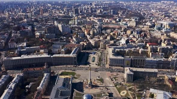 Maidan Nezalezhnosti Square. Revolution Place in Kyiv (Kiev), Ukraine. Khreshchatyk Street. Aerial