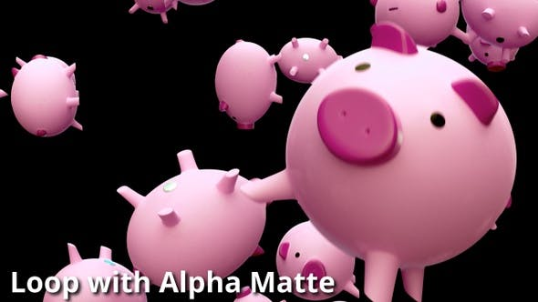 Thumbnail for Falling Piggybanks Loop on Black with Alpha Matte