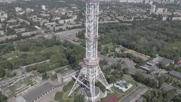 Thumbnail for The Architecture of Kyiv. Ukraine: TV Tower. Aerial View. Slow Motion, Flat, Gray