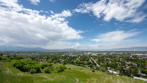 Wide angle time lapse over Provo, Utah