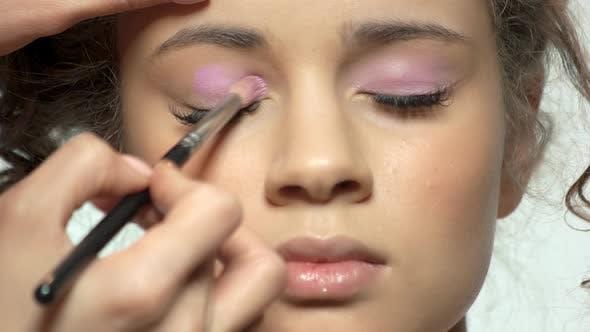 Hand Using Makeup Brush, Eyeshadow