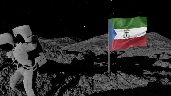 Astronaut Planting Equatorial Guinea Flag on the Moon