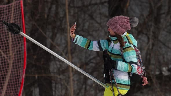 Thumbnail for Amateur Skier Girl on a Lift