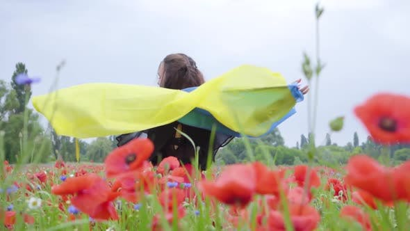 Cover Image for Portrait Adorable Young Woman Dancing in a Poppy Field Holding Flag of Ukraine in Hands Outdoors