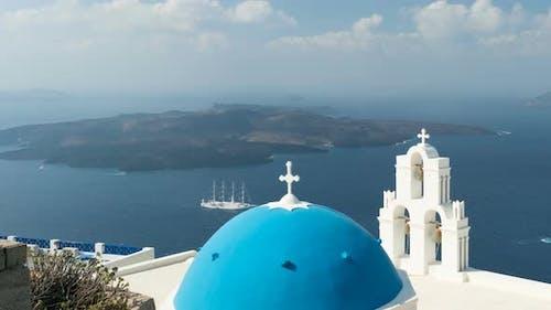 Aegean Sea with View To Virgin Mary Catholic Church Three Bells of Fira, Santorini