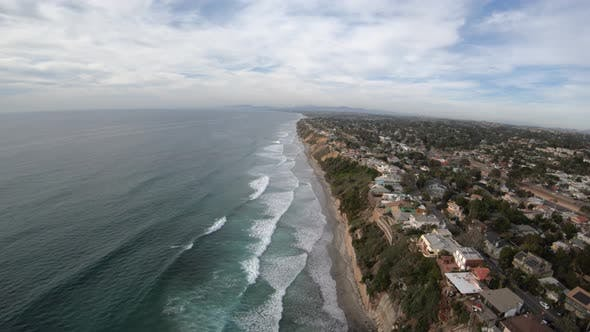 Thumbnail for Beacon Beach Encinitas California Usa Aerial View Flying North In Helicopter Along Coast