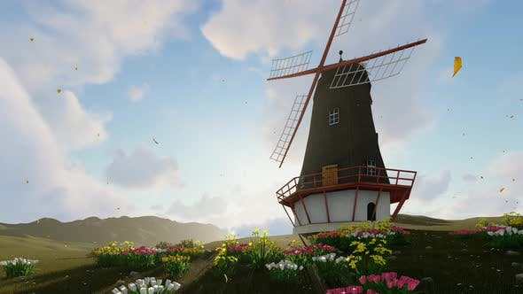 Thumbnail for Windmill House Background Loopable 4K