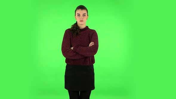Thumbnail for Lovely Girl Is Very Offended and Looks Away Green Screen