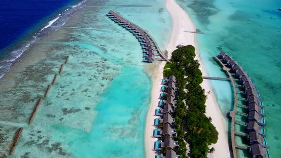 Thumbnail for Beautiful drone clean view of a white sand paradise beach and aqua blue ocean background