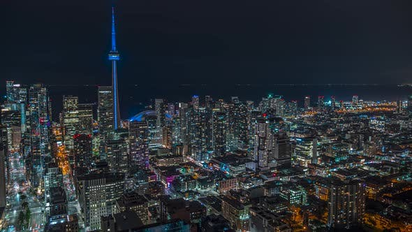 Thumbnail for Downtown Toronto Night Time Lapse Of Traffic An Cn Tower