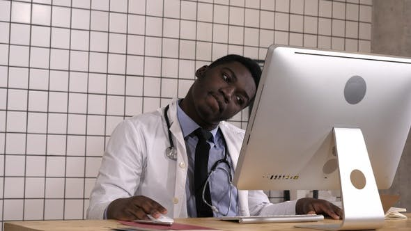Thumbnail for Afro american doctor with migraine overworked overstressed