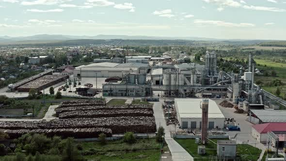 Thumbnail for Aerial Wide Drone View. Factory Industrial Zone, Wood Processing Factory Warehouses, Workers Inside