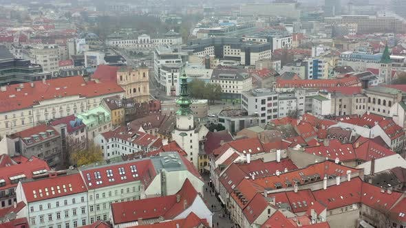 Aerial View of the Old Town and City of Bratislava