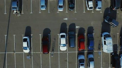 Copter Filming Modern Cars Parking Near Supermarket Parking Lots