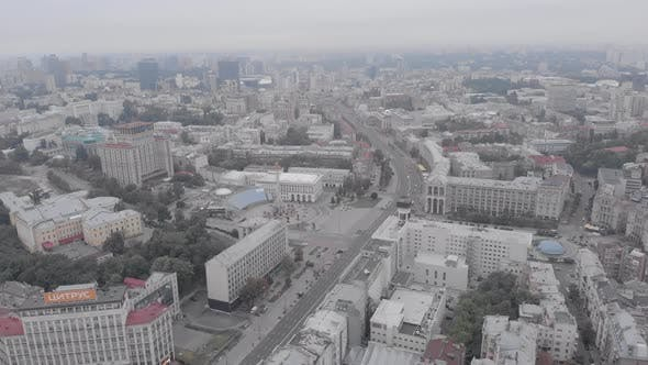 Independence Square in Kyiv, Ukraine. Maidan. Aerial View