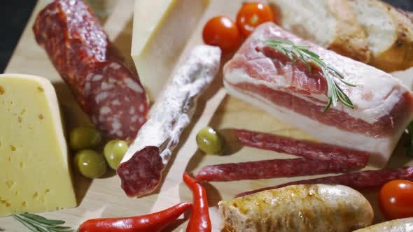 Thumbnail for Cheese and Meat Appetizer Selection. Prosciutto Di Parma, Salami, Italian Cheese,, Olives and