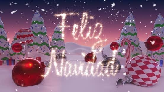 Thumbnail for Animation von Feliz Navidad geschrieben in glänzendem Brief auf verschneite Landschaft mit Weihnachtskugeln