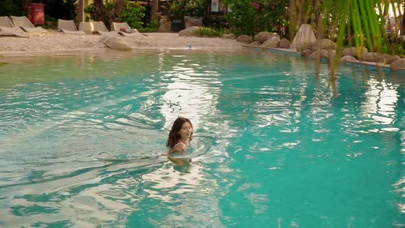 Thumbnail for Woman in Hotel Swimming Jacuzzi Pool