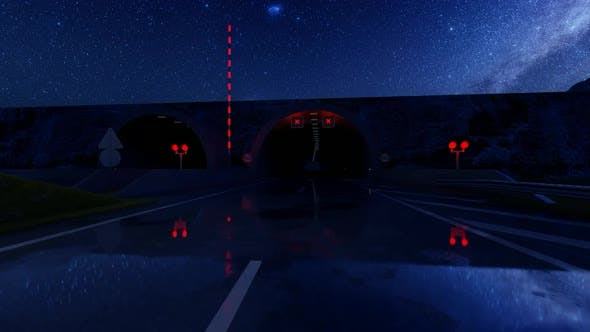 Thumbnail for Passing Through the Tunnel on a Wet Road at Night