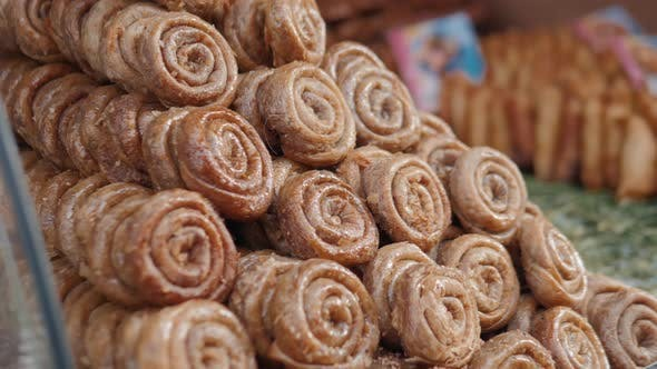 Thumbnail for Traditional Honey and Almond Sweet Pastries From Morocco
