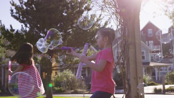 Thumbnail for Girls blowing bubbles at park