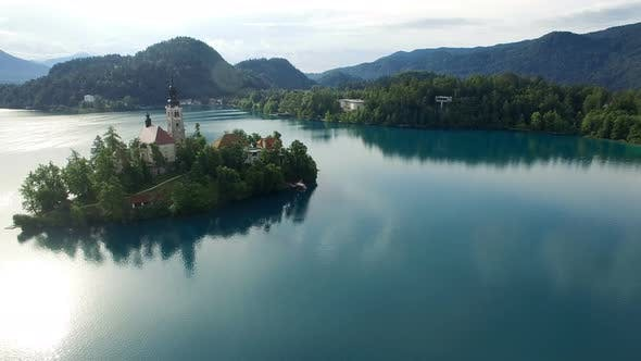 View of the Church of the Assumption of the Virgin Mary on the Lake Bled