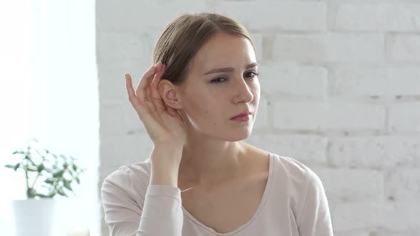 Cover Image for Beautiful Young Woman Listen Carefully, Hand on Ear