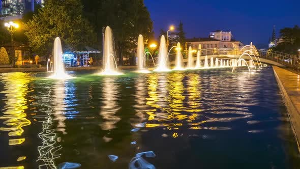 Thumbnail for Timelapse of Singing Fountains on the Batumi Embankment at Night
