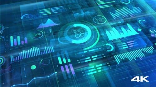 Big Data 3D Infographic Background 4K