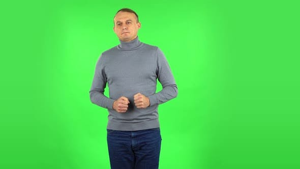 Thumbnail for Male Is Refusing Stress and Taking Situation. Green Screen