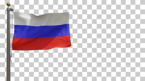 Russia Flag on Flagpole with Alpha Channel - 4K