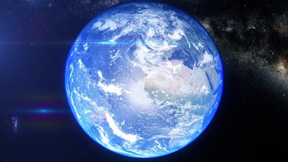 Realistic Earth Zoom South Pacific Ocean