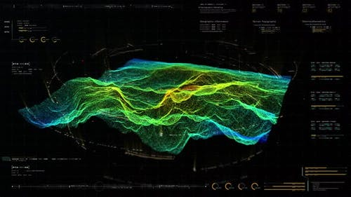 Futuristic Holographic Terrain environment HUD
