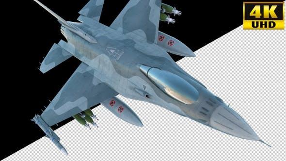 Combat Jet Fighter On Alpha Channel Loops V2
